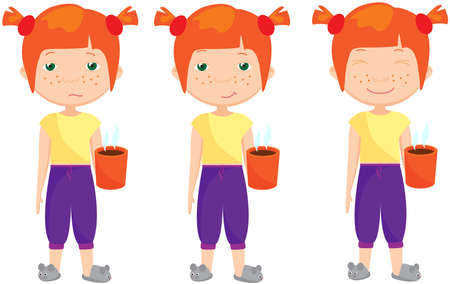 pensive: Sad, pensive and happy red-haired girl, sleepy and cheerful. Vector cartoon illustration