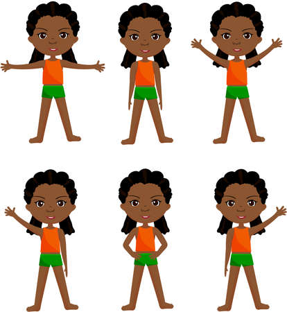 Afro girl with dreadlocks doin morning work-out. Vector cartoon illustration  イラスト・ベクター素材