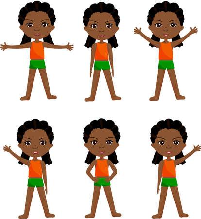 Afro girl with dreadlocks doin morning work-out. Vector cartoon illustration Ilustrace