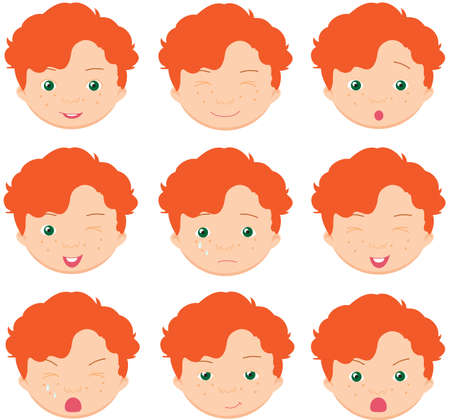 cunning: Red-haired boy emotions: joy, surprise, fear, sadness, sorrow, crying, laughing, cunning wink. Vector cartoon illustration