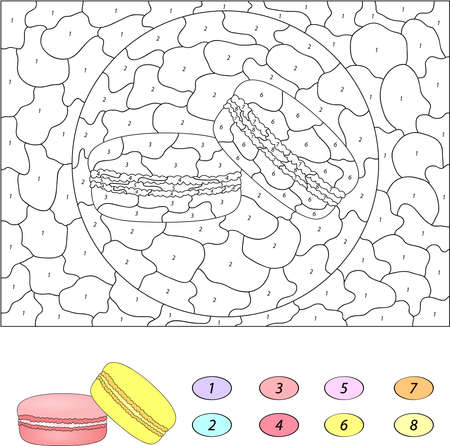 coloration: Color by number educational game for kids. Sweet and tasty macaroons. Vector illustration for schoolchild and preschool Illustration