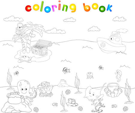 steamship: Sea inhabitants and steamship. Octopus, jellyfish, starfish, sea-horse, reefs and corals in the ocean. Island with palms, parrot and treasure chest. Vector illustration about underwater world. Coloring book for kids