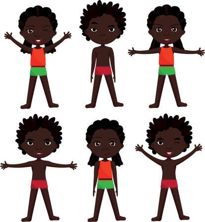 female children: Afro boy and girl doin morning work-out. Vector cartoon illustration Illustration