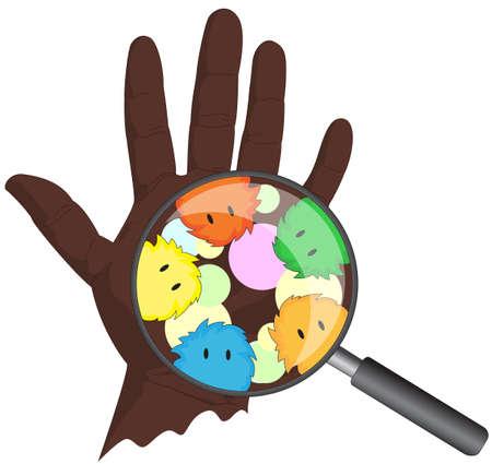 bacterias: Microbios Cartoon asoman desde una lente de aumento. La mano del Afro con el virus. Ilustración vectorial Vectores