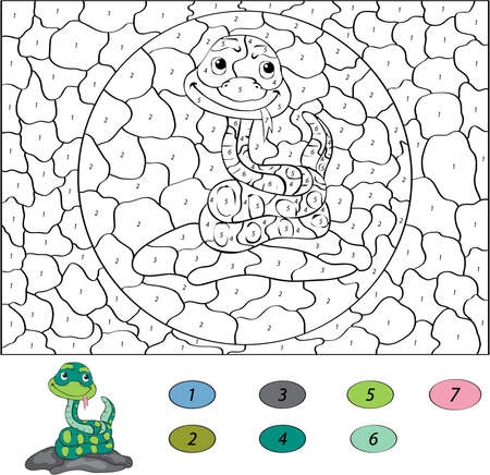 serpiente caricatura: Color por el n�mero de juego educativo para los ni�os. Serpiente divertida del dibujo animado. Ilustraci�n del vector para escolar y preescolar