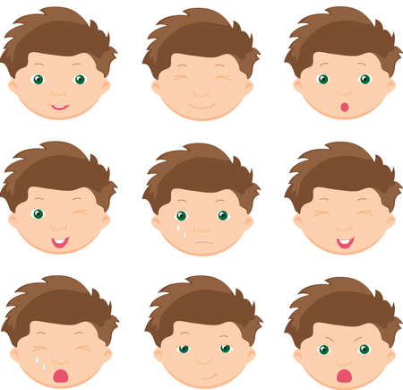face expressions: Boy emotions: joy, surprise, fear, sadness, sorrow, crying, laughing, cunning wink. Vector cartoon illustration
