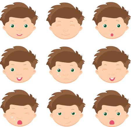 gestos de la cara: Emociones Boy: alegría, sorpresa, miedo, tristeza, dolor, llanto, risa, astuto guiño. Ilustración vectorial de dibujos animados Vectores