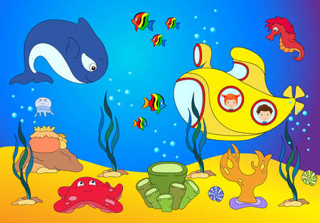 angler: Ocean inhabitants boy and girl in a submarine. Octopus, jellyfish, starfish, sea-horse, reefs, crab, shrimp, rays, fish angler and corals in the ocean. Vector illustration about underwater world