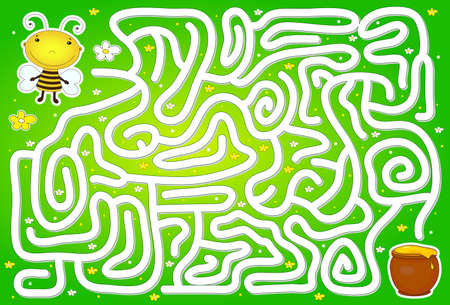 Help bee to find way to pot of honey in a flower maze. Educational game for children. Vector illustration Illustration