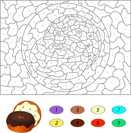 frosting: Color by number educational game for kids. Donuts with chocolate and frosting. Vector illustration for schoolchild and preschool