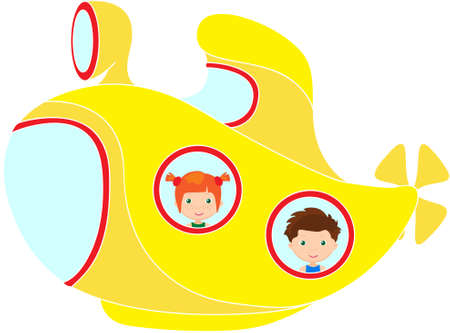 cartoon submarine: Boy and red-haired girl in submarine. Vector cartoon illustration Illustration
