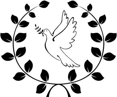 Una paloma lleva un logotipo rama de olivo. La corona de ramas. Ilustración vectorial Foto de archivo - 47786517