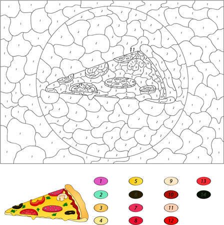 numbers: Color by number educational game for kids. Pizza with salami, tomato, mushrooms, peppers, olives. Vector illustration for schoolchild and preschool