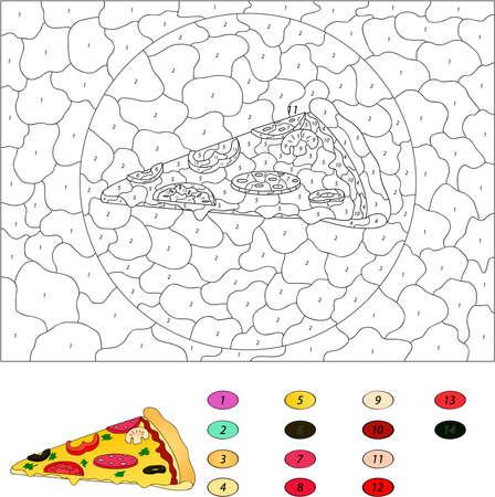 numeros: Color por el número de juego educativo para los niños. Pizza con salami, tomate, champiñones, pimientos, aceitunas. Ilustración del vector para escolar y preescolar
