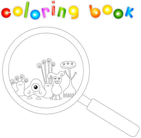 peek: Cartoon microbes peek out from a magnifying lens. Coloring book for kids. Vector illustration