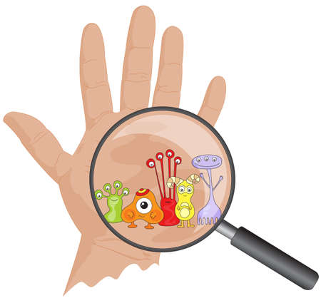 Cartoon microbes peek out from a magnifying lens. Hand with viruses. Vector illustration Stock Illustratie
