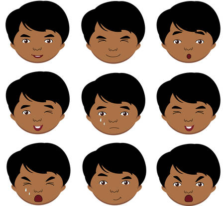 fear: Indian boy emotions: joy, surprise, fear, sadness, sorrow, crying, laughing, cunning wink. Vector cartoon illustration Illustration