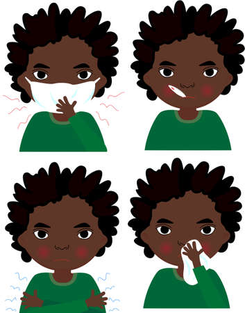 sick children: Sick african boy with flu mask, thermometer and handkerchief. Vector cartoon illustration