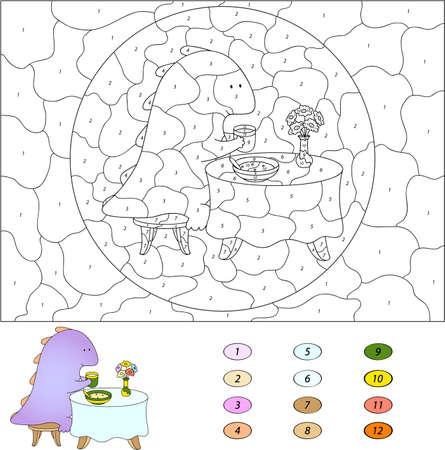 nombres: Couleur par numéro jeu éducatif pour les enfants. Dragon bande dessinée drôle de manger son petit déjeuner. Vector illustration d'écolier et préscolaire
