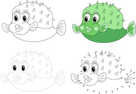 Cartoon pufferfish. Dot to dot educational game for kids. Vector illustration Ilustração
