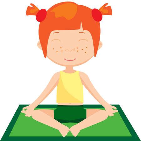 Red-haired girl doing yoga exercise. Vector cartoon illustration