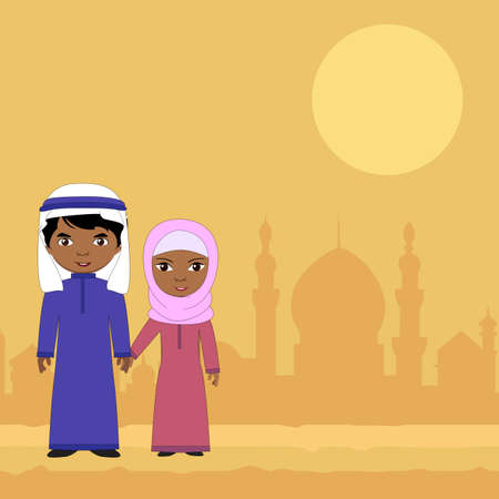 woman smiling: Girl and boy sitting on a background of the Muslim city. Vector cartoon illustration