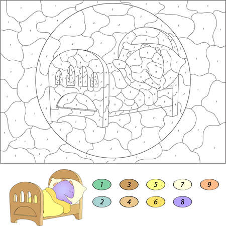 number cartoon: Color by number educational game for kids. Funny cartoon dragon sleeping in his crib. Vector illustration for schoolchild and preschool Illustration