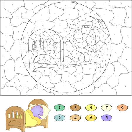 nombres: Couleur par num�ro jeu �ducatif pour les enfants. Dr�le dormir cartoon dragon dans son berceau. Vector illustration d'�colier et pr�scolaire
