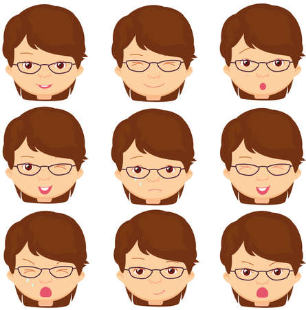 gestos de la cara: Chica con gafas de emociones: alegr�a, sorpresa, miedo, tristeza, dolor, llanto, risa, astuto gui�o. Ilustraci�n vectorial de dibujos animados Vectores