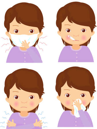 Sick girl with flu mask, thermometer and handkerchief. Vector cartoon illustration