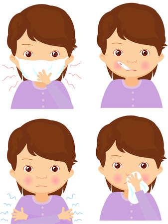 Ziek meisje met griep masker, thermometer en zakdoek. Vector cartoon illustratie
