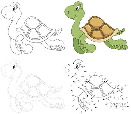 coloring sheet: Cartoon turtle. Dot to dot educational game for kids. Vector illustration