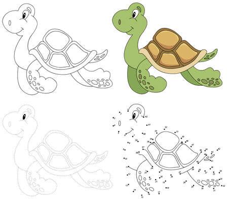 tortuga caricatura: tortuga de la historieta. Punto a punto juego educativo para los niños. ilustración vectorial