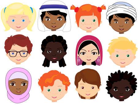 Jongens en meisjes van verschillende nationaliteiten. Multinationale kinderen. Kinderen gezichten van verschillende culturen. Vector cartoon illustratie
