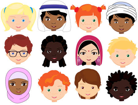 Boys and girls of different nationalities. Multinational children. Kids faces of different cultures. Vector cartoon illustration Illustration