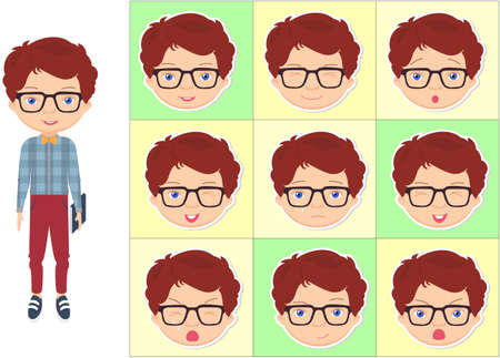 Boy with glasses emotions: joy, surprise, fear, sadness, sorrow, crying, laughing, cunning wink. Vector cartoon illustration