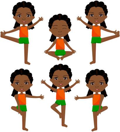 dreadlocks: African girl with dreadlocks doin morning work-out. Vector cartoon illustration
