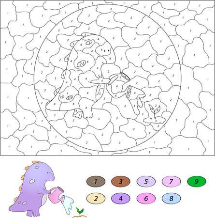 numeros: Color por el n�mero de juego educativo para los ni�os. Drag�n de dibujos animados divertido de regar una planta de lata. Ilustraci�n del vector para escolar y preescolar Vectores