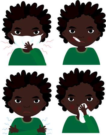 personas enfermas: Chico arrican enfermo con m�scara de la gripe, term�metro y pa�uelo. Ilustraci�n vectorial de dibujos animados