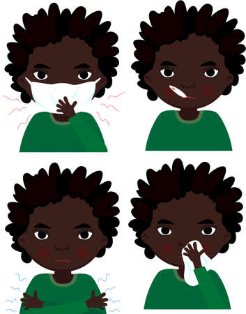 sick boy: Sick arrican boy with flu mask, thermometer and handkerchief. Vector cartoon illustration