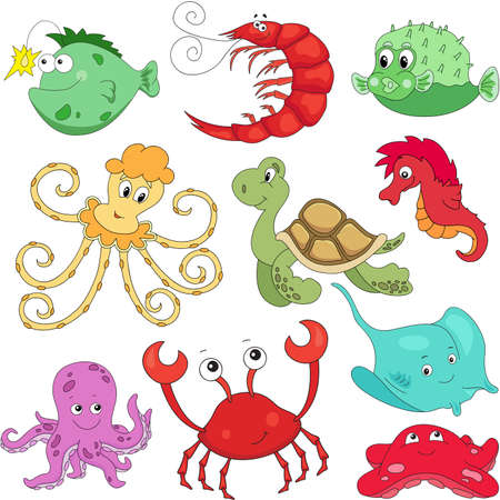 inhabitants: Sea inhabitants: octopus, pufferfish, starfish, sea-horse, crab, stingray, shrimp and turtle. Vector illustration about underwater world