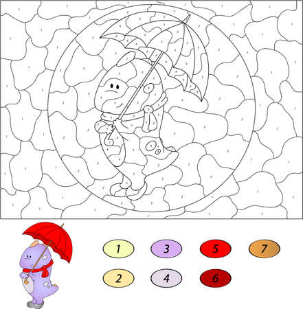 number cartoon: Color by number educational game for kids. Funny cartoon dragon with umbrella. Vector illustration for schoolchild and preschool
