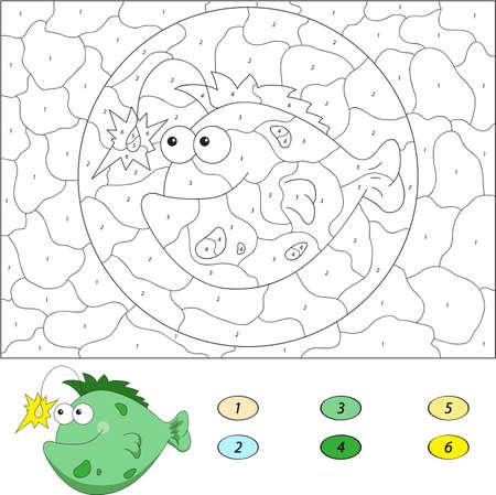 아이들을위한 숫자 교육 게임으로 색상. 재미있는 만화 물고기 낚시꾼. 학생 및 유치원 벡터 일러스트 레이 션