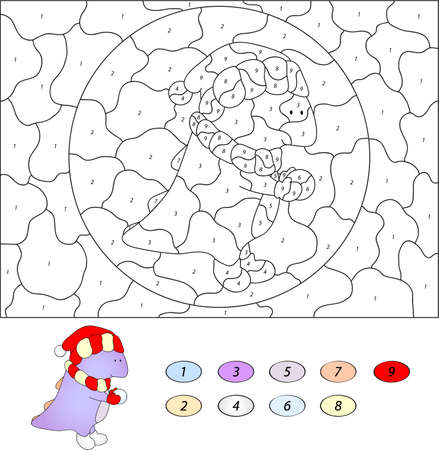 nombres: Couleur par numéro jeu éducatif pour les enfants. cartoon dragon drôle avec boule de neige. Vector illustration pour écolier et préscolaire