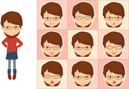 cunning: Girl with glasses emotions: joy, surprise, fear, sadness, sorrow, crying, laughing, cunning wink. Vector cartoon illustration Illustration