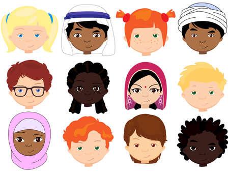 さまざまな国籍の男女。多国籍の子どもたち。異なる文化の子供の顔。ベクトル漫画の実例
