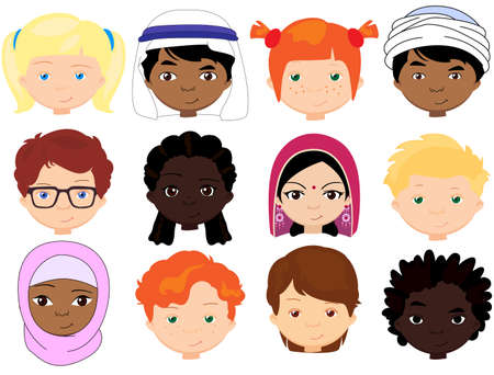 Boys and girls of different nationalities. Multinational children. Kids faces of different cultures. Vector cartoon illustration Çizim