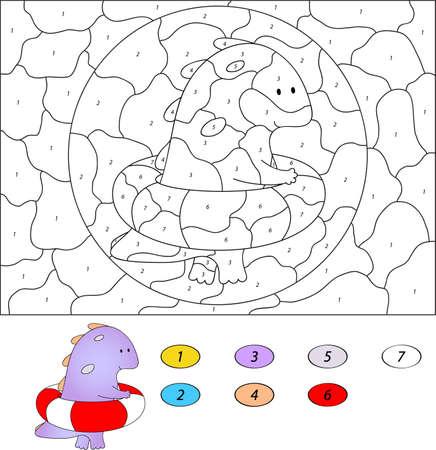 아이들을위한 숫자 교육 게임으로 색상. 고무 링 재미 만화 드래곤 수영. 학생 및 유치원 벡터 일러스트 레이 션