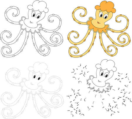 black octopus: Cartoon octopus. Dot to dot educational game for kids. Vector illustration