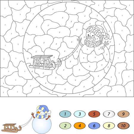 nombres: Couleur par numéro jeu éducatif pour les enfants. bonhomme de neige de bande dessinée drôle avec luge. Vector illustration pour les écoliers et préscolaire